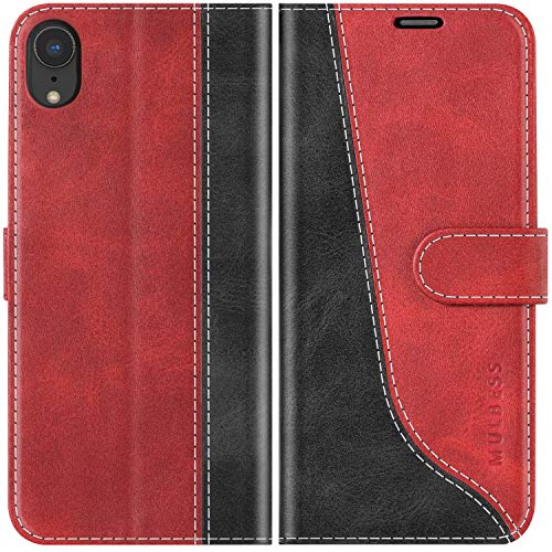 Mulbess Coque pour iPhone XR, Coque Cuir iPhone XR, Etui iPhone XR, Pochette Housse pour iPhone XR Protection, Vin Rouge