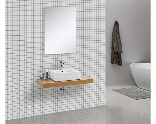Waschtischkonsole OCEAN 100 x 50 cm Echtholz Eiche, Badezimmer Badmöbel Waschbecken Bad Waschtisch Echtholz