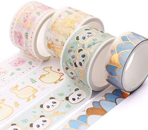 YUBBAEX Super Cute Washi Tape Set 25MM Wide 4 Rolls Gold Decorative Masking Tapes for Bullet product image