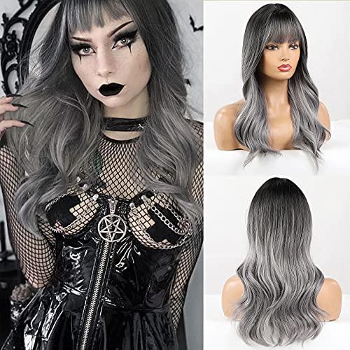 HAIRCUBE longues perruques bouclées Ombre gris perruque avec une frange légère longueur de vague naturelle perruque de cheveux pour femmes dames Cosplay fête tenue quotidienne