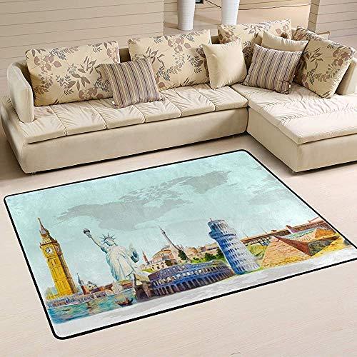 Tapis de Voyage World Landmark Travel Skyline Tapis coloré Moderne pour Salon Chambre à Coucher Tapis de Chambre de bébé Lavable en Machine,150X100Cm