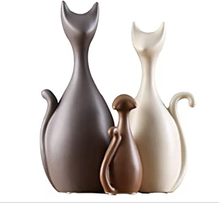 PeggyHD Ceramic Home Decor Cat Family Figurine Crafts Animals Statue Abstract Sculpture Ornament Birthday Wedding Gifts 3pcs/Set (Earth Tone)