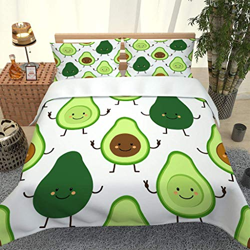 QMGLBG Double Duvet Cover set of 3 pcs Cartoon avocado pattern with Zipper Closure with 2 Pillowcovers Ultra Soft Microfiber 3D printing Quilt Cover Sets 200x200cm