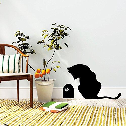 """Wandtattoo-Loft """"Katze mit Mauseloch"""" Kätzchen/Dekoration / 29 Farben / 2 Größen/schwarz / 20 cm Hoch x 33 cm Breit"""