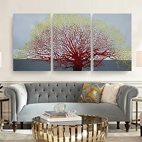 adgkitb canvas 3 Piezas de Pintura al óleo Abstracta de árbol por decoración...
