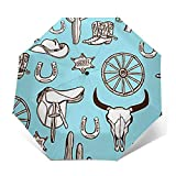 Ombrello Portatile Automatico Antivento, Ombrello Pieghevole Compatto, Folding Umbrella, Baldacchino Rinforzato, Impugnatura Ergonomica, Cowboy occidentale selvaggio
