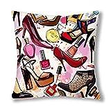 WXM Fashion Cosmetics Decor tacco alto scarpe profumi & rossetto, federa copricuscino decorativa con cerniera, 40 x 45 cm