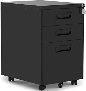 ModernLuxe 3-Drawer Mobile File Cabinet with Keys, 15.4