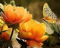 番号キットによるDiy5Dダイヤモンド絵画美しい黄色い花と蝶ラウンドフルドリル刺繡クロスステッチアートクラフトキャンバスサプライホームウォールデコレーション40X50CM