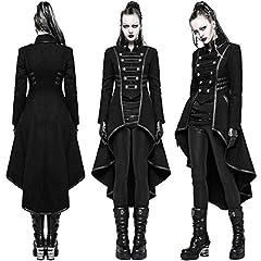 COCD Women's Steampunk Jacket Victorian Irregular Tailcoat Vintage Gothic Tuxedo Coat Holloween Costume Burgundy #5
