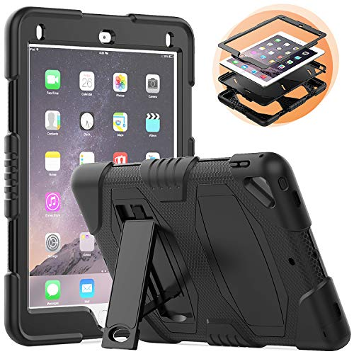 New iPad 6th Generation Case with Stand, Heavy Duty Soft Silicone Hard Bumper Shockproof Protective Rugged Case for New iPad 9.7 inch 2017/2018 [Black]