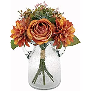 Artificial Fall Flowers, Artificial Silk Rose & Dahlia Flowers Bouquet, Silk Dahlia & Rose Flowers Bouquet (Orange)