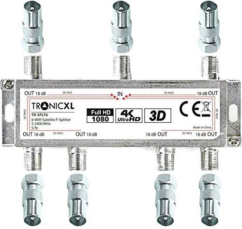 TronicXL Répartiteur 6 voies BK Premium Adaptateur Câble d'antenne TV Satellite pour TNT télévision par câble SAT dvbs dvbs2 DVBT dvbc numérique Full HD TV distributeur Opensys separateur