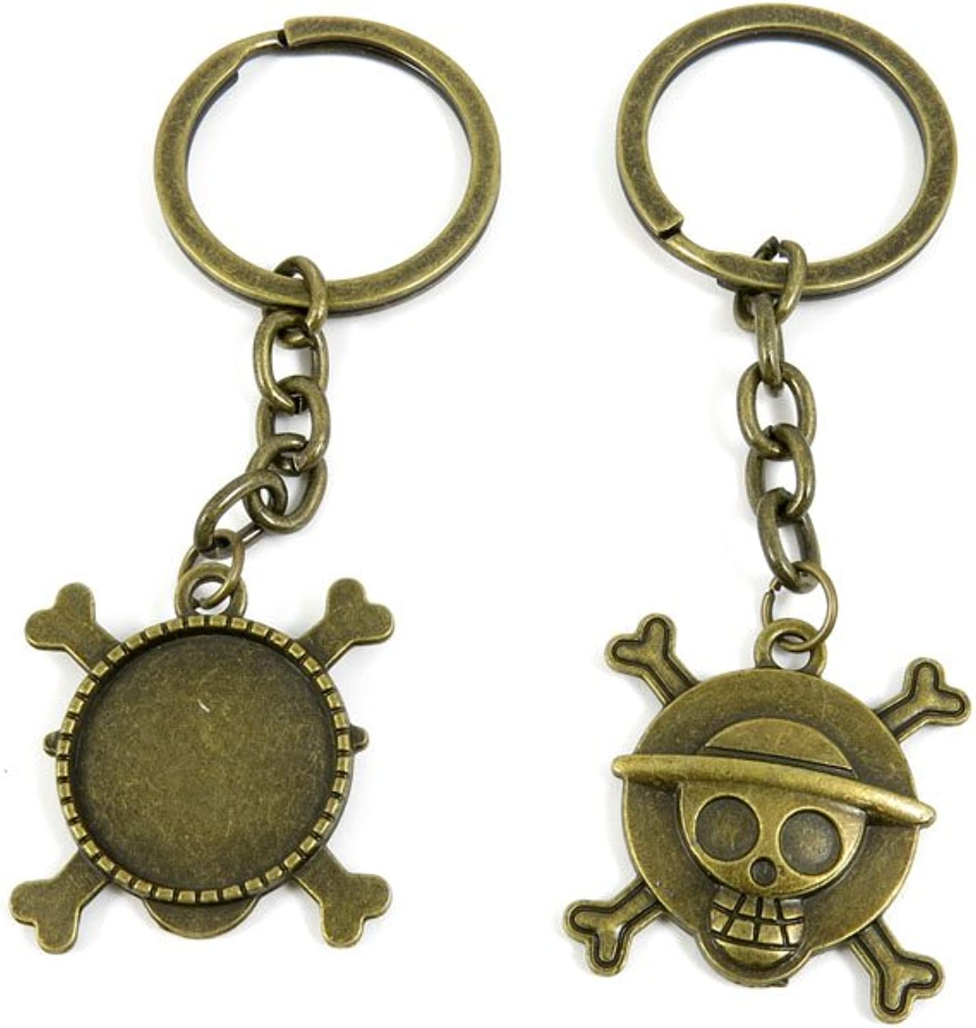 80 PCS Keyring Car Door Key Ring Tag Chain Keychain Wholesale Suppliers Charms Handmade D6CS6 Skull Cabochon Setting Blanks