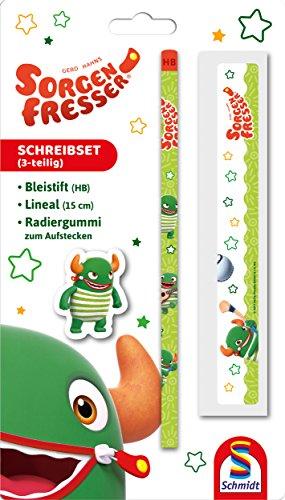 Schmidt Spiele 46309 Sorgenfresser Schreibset (Bleistift, Lineal, Radiergummi), Pat, Blisterkarte - NEU