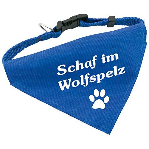 Hunde-Halsband mit Dreiecks-Tuch SCHAF IM WOLFSPELZ, längenverstellbar von 32 - 55 cm, aus Polyester, in blau
