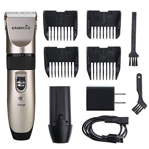 Easehold Elektrische Haustier-Haarschneidemaschinen mit Edelstahlklingen, wiederaufladbare und austauschbare Batterien Professionelle tragbare geräuscharme Haarschneidemaschine