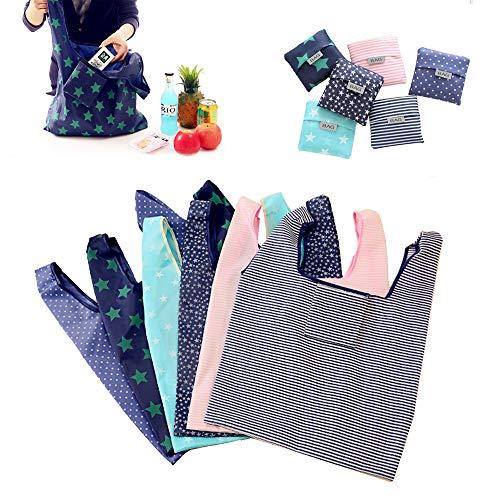 Conzy Paquete de 6 bolsas de supermercado reutilizables para compras Bolsas de supermercado plegables y lavables con bolsa, bolsa de bolso ecológica que cabe en el bolsillo...