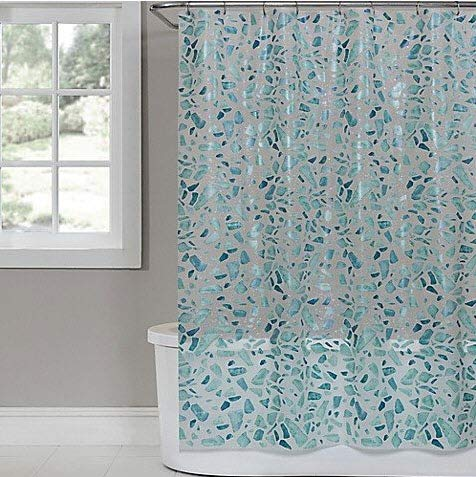 Saturday Knight Sea Glass PEVA Shower Curtain in White