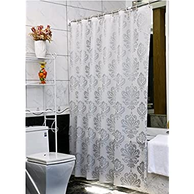 Uforme 36 Inch by 72 Inch Environmentally PEVA Shower Curtain Mildew Resistant and Waterproof PVC-free Bath Liner with Curtain Rings for Bath, Washable, Silver Grey