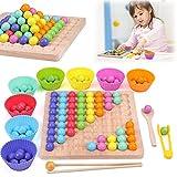 Holz Clip Beads Brettspiel, Rainbow Ball Elimination Game Toy Montessori Educational Holzspielzeug Holz Clip Beads Regenbogenspielzeug, Vorschule Lernspielzeug Geschenk für Kinder Mädchen Jungs