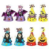 ZERHOK 8 piezas Sombreros de Halloween para Niños DIY Gorros de Cono Sombrero de Papel de Dibujos...