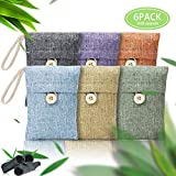 Mega-Loopolis 6 pack Bamboo Charcoal Bags Air Purifying Bags Natural Home Deodorizer Bags Eco Friendly & Chemical Free Used As Shoe Odor Eliminator,Refrigerator Deodorizer, Car Air Purifier & More
