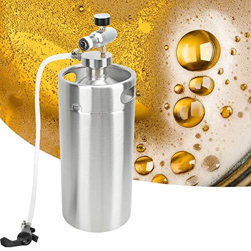 【Venta del día de la madre】Almacene el barril de cerveza de acero inoxidable plateado de 3,6 L, el dispensador de cerveza carbonatada fresca en casa o en el bar