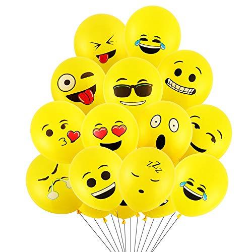SKYIOL Emoji Balloons, 100Pcs Globos de látex, Smiley Face Globos para el cumpleaños del niño Suministros de Fiesta favores, Novedad Bodas Eventos Decoración Accesorios, Amarillo (Emoji Balloon)