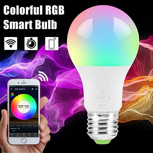 E27 Bombilla inteligente WiFi Regulable Multicolor Wake-Up Lights Lámpara LED RGBWW Compatible con Alexa y Google Assistant Led TV@show as photo 4.5w