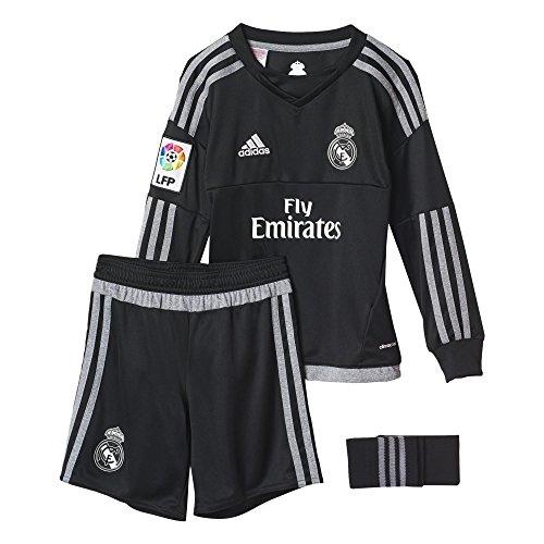 adidas Jungen Bekleidungsset Real Madrid Mini-Heimausrüstung Torwart Baby, Schwarz/Grey, 98