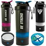 BeMo® borraccia shaker da 800ml, 100% a prova di perdite, con logo, senza BPA, anello di aggancio e moschettone per fissaggio a chiavi o borsa., White, BE STRONG, 800 ml
