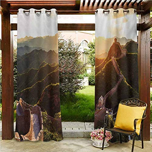 ScottDecor Great Wall of China Outdoor Sheer Curtain Solid Wind Keep Out Curtain Historical Structure at Sunset Time with Hazy Mystic Image Print Yellow Green 112' W by 95' L(K284cm x G241cm)