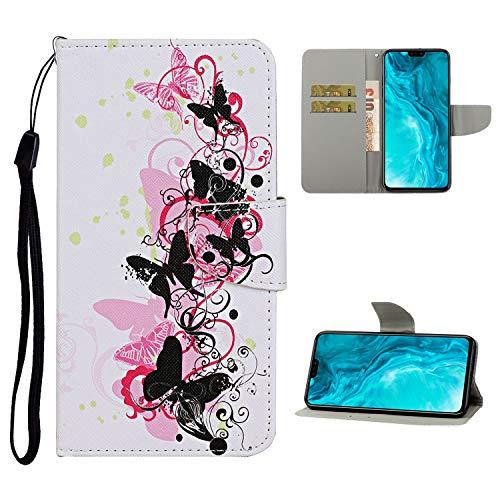 Nadoli Brieftasche Etui für Samsung Galaxy A71,Schwarz Schmetterling Muster Bunt Pu Leder Lanyard Standfunktion Magnetisch Handyhülle Schutzhülle Lederhülle mit Kartenfach