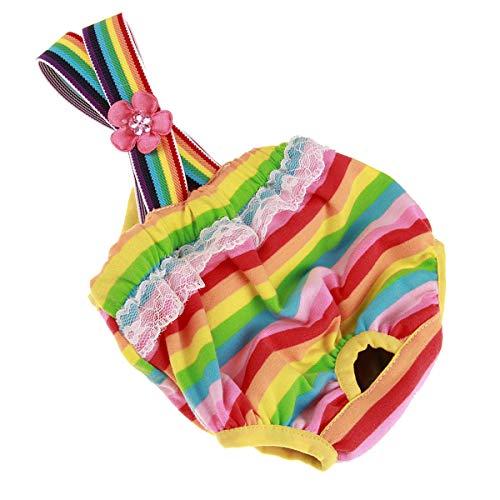 Ponacat Huisdier Hond Fysiologische Shorts Kleurrijke Strip Ontwerp Pant Luier Draai Strap Sanitaire Briefs Panties 01 XS