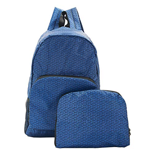 Eco Chic Foldable Expandable Backpack 100% RPET Material Disrupted Cubes Navy
