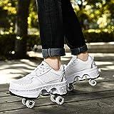 qmj Patins à roulettes 2 en 1 pour femmes, enfants et filles - Chaussures à roulettes déformables - Chaussures multifonctions avec roulettes - Blanc-EU35/UK2