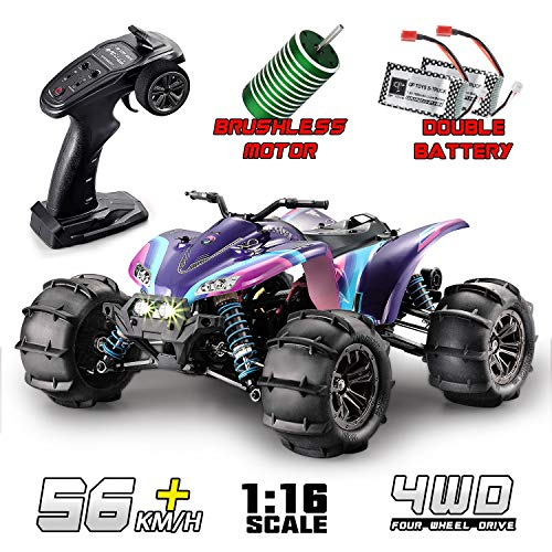 RC Trucks, GP TOYS RC Cars High Speed Brushless Monster Remote Control Car, 1/16 56KMh 4WD All Terrains Vehicle ATV 2.4Ghz Radio Controlled Hobby Toys for Kids Adults