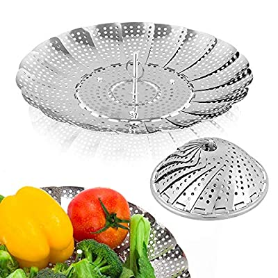 """Sayfine Vegetable Steamer Basket, Premium Stainless Steel Veggie Steamer Basket - Folding Expandable Steamers to Fits Various Size Pot (6"""" to 10.5"""")"""