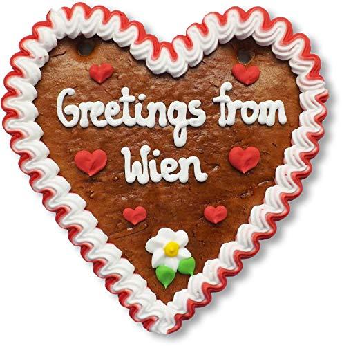 Lebkuchenherz 16cm mit Spruch - Greetings from Wien | Geschenke & nette Grüße senden | International Grüße aus Wien verschicken | Lebkuchen Herz günstig online bestellen von LEBKUCHEN WELT