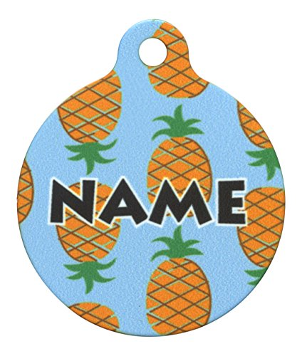 Yellow Dog Design 1.25' Blue Pineapples Personalized Hi-Def Pet ID Tag with Silencer, Medium