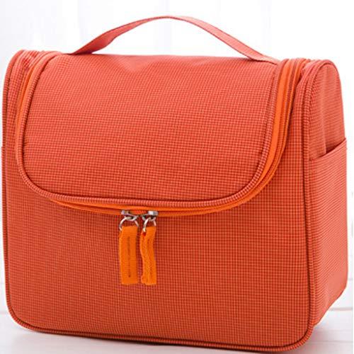 Hunpta@ Trousse de Maquillage imperméable Haute capacité Couleur Pure Sac de Rangement à Suspendre à la Main Orange