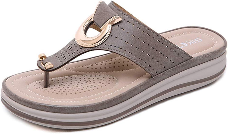 GIY Women's Flip Flops Sandals Ladies Casual Leather Knot Flip Flops Mid Heel Comfort Outdoor Casual Flat Slide Thong Sandal
