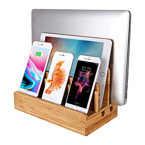 MOZOWO Bamboe Hout Multi-Device Desktop Opladen Dock Station Lader Houder Cradle Stand Compatibel voor iPhone XS MAX XR X 8 7 6 6S Plus iPad Mini Pro Air Tablets Samsung LG Sony Smartphones, Groot