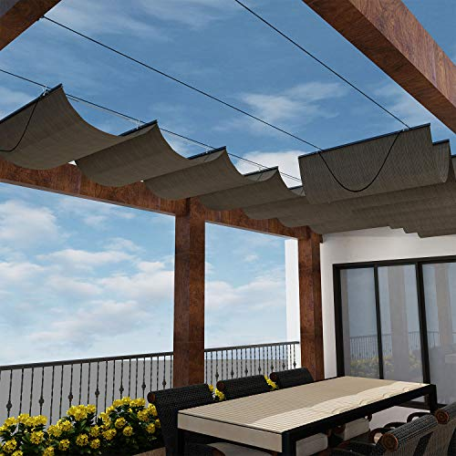 Windscreen4less Retractable Shade Canopy Replacement Cover for Pergola Frame Slide on Wire Cable Wave Drop Shade Cover Shade Sail Awning for Patio Deck Yard Porch Brown 4 ' x 12 '