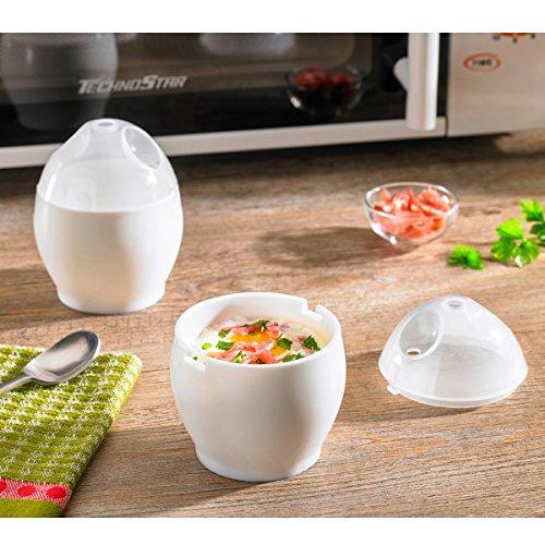 TRI Mikro-Pochier-Ei, 2 Stück, Eierkocher, Frühstücksei, Mikrowellenei, Eierpochierer, Mikrowellenbehälter, weiß, Kunststoff, Ø 6,5 cm, Höhe 9 cm