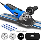 Mini Circular Saw with Track, 3-3/8' 6,500RPM Compact Circular Saw with 2 x 15' Guide Rails, Mini Plunge Cut Saw with 3 Saw Blades for Wood, Soft Metal, Tile and Plastic