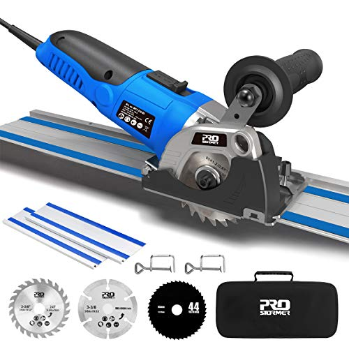 """Mini Circular Saw with Track, 3-3/8"""" 6,500RPM Compact Circular Saw with 2 x 15"""" Guide Rails, Mini Plunge Cut Saw with 3 Saw Blades for Wood, Soft Metal, Tile and Plastic"""