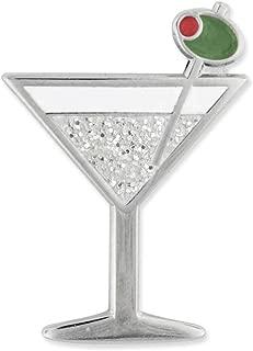 PinMart Martini w/Olive Fun Food Celebration Glitter Enamel Lapel Pin