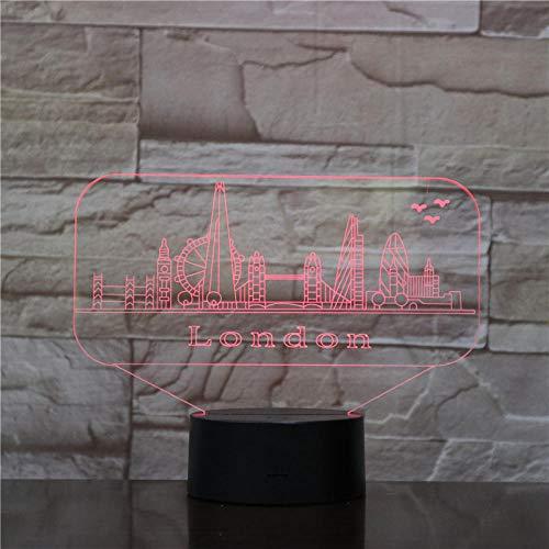 Stadslandschap Londen 3D nachtlampje USB Touch slaapkamer LED Visual Illusie tafellamp Valentijnsdag verjaardagscadeau
